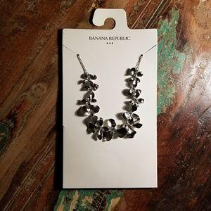 Banana Republic Silvertone Floral Bridal Necklace